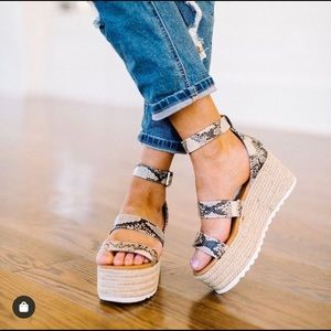 Shoes - Brand new snake skin ankle wrap espadrilles!!